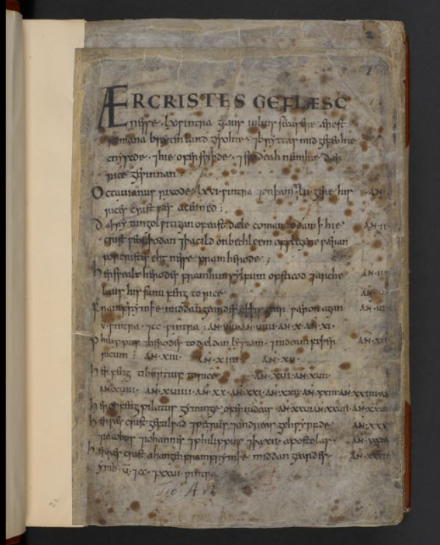 London, British Library, Cotton Tiberius A vi, f. 1r, recently digitised